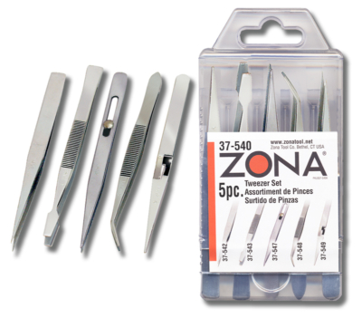 37 540tweezer pkg 400x351 - 37-540 5-piece Tweezers Set  37-540 5-piece Tweezers Set - fine-points-tweezer-and-pliers, hand-tools